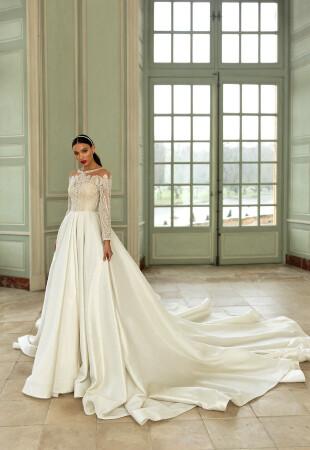 Satin Long Sleeve Wedding Dresses