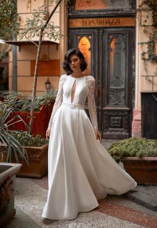 Пышные атласные свадебные платья