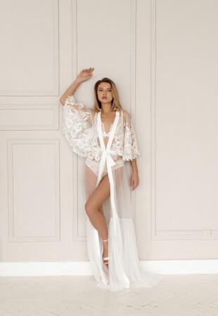 bride lace robe, bride robe, bride dressing robe
