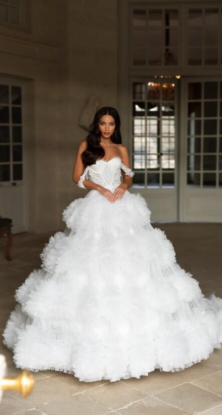 wedding dresses aline, off the shoulder wedding dress, wedding dresses with long trains
