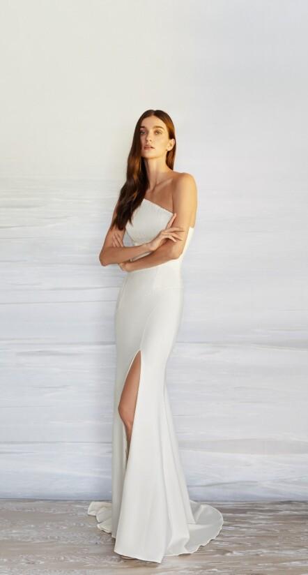 wedding dress with slit, court wedding dress, after party wedding dress