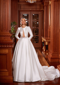 long sleeve satin wedding dresses, wedding dresses aline, designer wedding dress