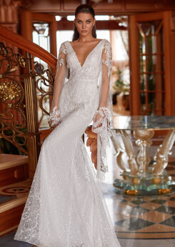 mermaid dress wedding, long sleeves wedding dresses, embroidery wedding dresses