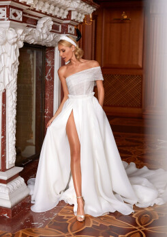 a line wedding dresses with lace, wedding dress with slit, wedding dresses organza