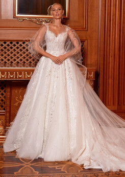 princess wedding dress, aline wedding dress, lace wedding dress