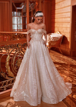 a line wedding dresses, a line wedding dress with lace, wedding dress ball gown