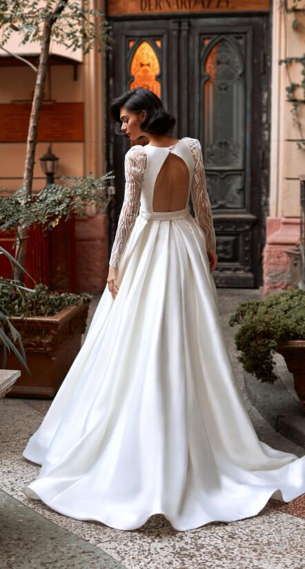 атласное свадебное платье, свадебное платье со шлейфом